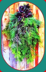 Farm Fresh Evergreen Door Swags For Christmas